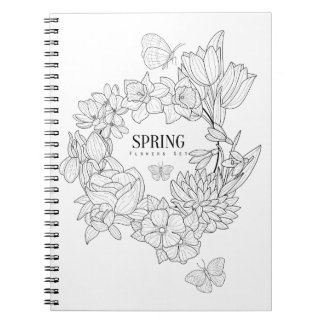 Zorn der Frühlings-Blumen-Hand gezeichnet Notizblock