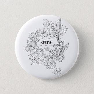 Zorn der Frühlings-Blumen-Hand gezeichnet Runder Button 5,7 Cm