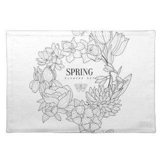 Zorn der Frühlings-Blumen-Hand gezeichnet Stofftischset