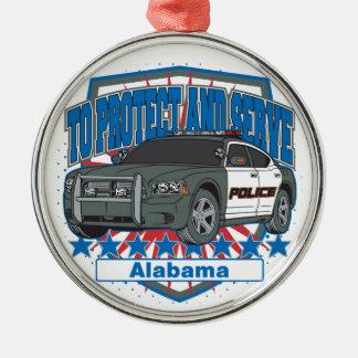 Zu Alabama-Polizeiwagen schützen und dienen Silbernes Ornament