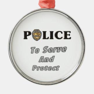 Zu dienen und sich schützen silbernes ornament