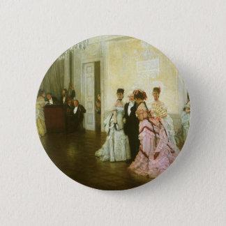 Zu früh durch James Tissot, Vintage viktorianische Runder Button 5,7 Cm