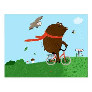 Zu goes zu bear to the City, postcard, Postkarte
