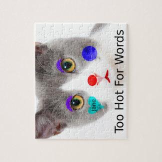 """""""Zu heiß für Wörter"""" Katze mit Clown-Make-up Puzzle"""