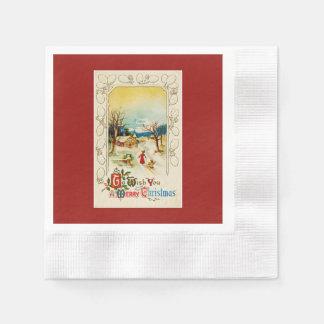Zu Ihnen ein frohe Weihnacht-Rot wünschen Serviette