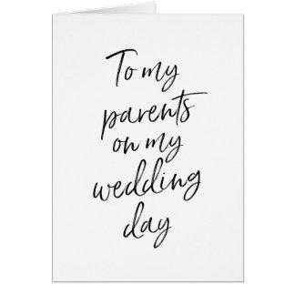 Zu meinen Eltern auf meinem Hochzeit   stilvollen Grußkarte