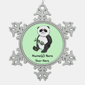Zu niedlicher Panda-Bär Schneeflocken Zinn-Ornament