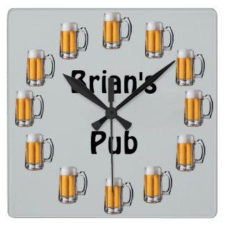 Zu personifizieren Bier-Kneipen-Wanduhr Quadratische Wanduhr