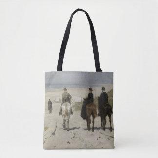 Zu Pferde Fahrt entlang dem Strand - schöne Kunst Tasche