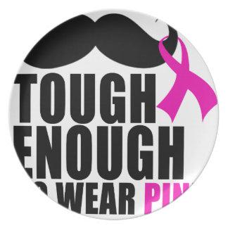 Zu Rosa für Krebsbewusstsein tragen Teller