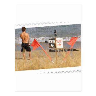 Zu surfen oder schwimmen - das die Frage ist Postkarte
