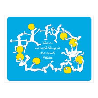 Zu viel Pilates Postkarte, blau Postkarte