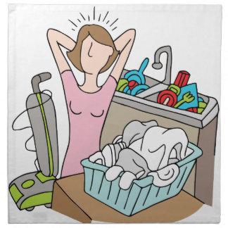 Zu viele Aufgaben-Frau Stoffserviette