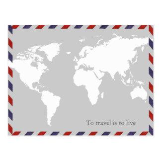 zu zu reisen ist zu leben. worldmap postkarten