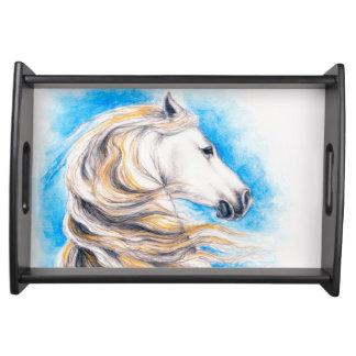 Züchtung des weißen Pferds Serviertablett