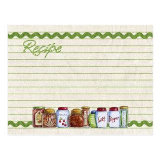 Zucker- und Gewürzrezeptkartenpostkarte