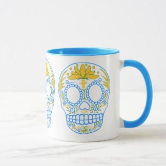 Zuckerschädel-(blau/Gelb) Tasse