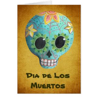 Zuckerschädel Blue Dia de Los Muertos Art Karte