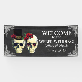 Zuckerschädel-Braut-und Bräutigam-Hochzeits-Fahne Banner