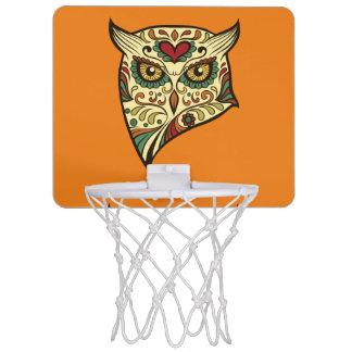 Zuckerschädel-Eule - Tätowierungs-Entwurf Mini Basketball Netz