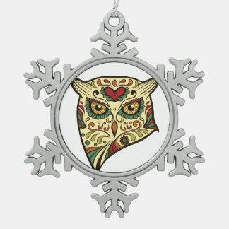 Zuckerschädel-Eule - Tätowierungs-Entwurf Schneeflocken Zinn-Ornament
