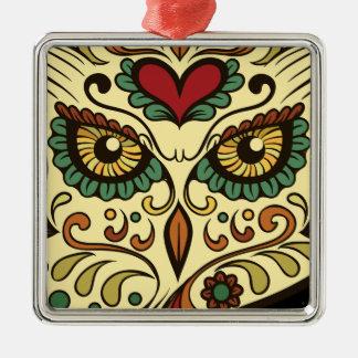 Zuckerschädel-Eule - Tätowierungs-Entwurf Silbernes Ornament