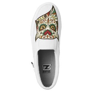 Zuckerschädel-Eule - Tätowierungs-Entwurf Slip-On Sneaker