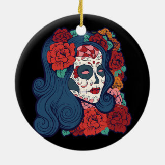 Zuckerschädel-Frauen-Rote Rosen im Haar Keramik Ornament