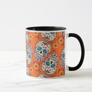Zuckerschädel-Halloween-Orange Tasse