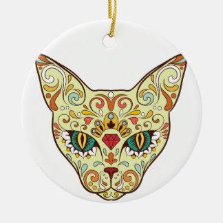 Zuckerschädel-Katze - Tätowierungs-Entwurf Keramik Ornament