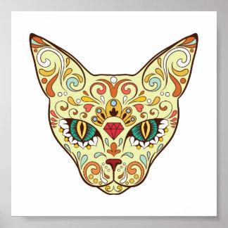 Zuckerschädel-Katze - Tätowierungs-Entwurf Poster