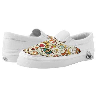 Zuckerschädel-Katze - Tätowierungs-Entwurf Slip-On Sneaker