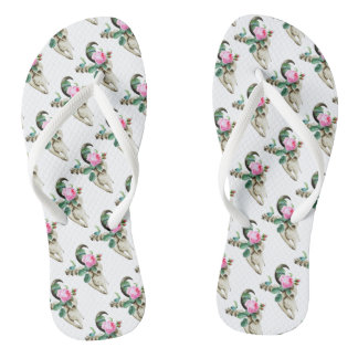 Zuckerschädel-Kuh-Rose Flip Flops