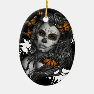 Zuckerschädel-Mädchen Ovales Keramik Ornament