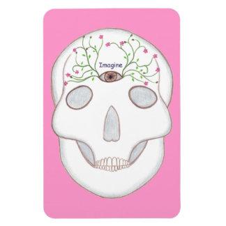 Zuckerschädel mit drittem Auge, Blume knospt Flexibler Magnet