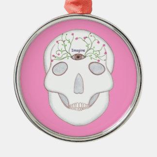 Zuckerschädel mit drittem Auge, Blume knospt Rundes Silberfarbenes Ornament