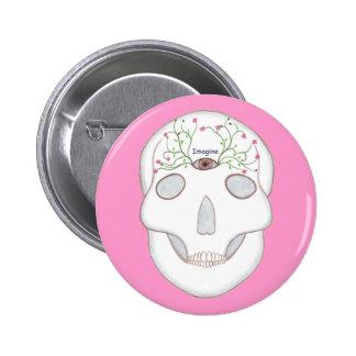 Zuckerschädel mit drittes Augen-und Blumen-Knospen Anstecknadelbuttons