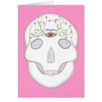 Zuckerschädel mit drittes Augen-und Grußkarte