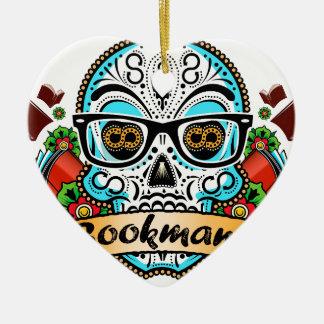 Zuckerschädel mit Gläsern Keramik Ornament