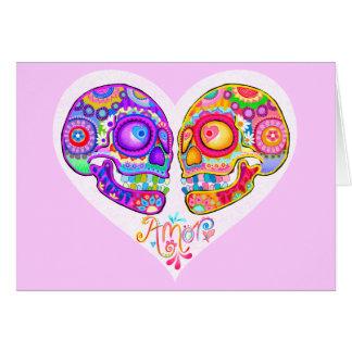 Zuckerschädel-Paar-Gruß-Karten - Liebe-Herz-Kunst Karte