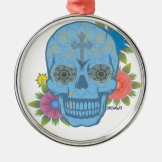 ZUCKERschädel Silbernes Ornament