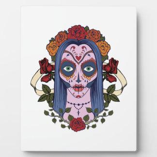 Zuckerschädel-Tag der toten Braut-Roten Rosen Fotoplatte