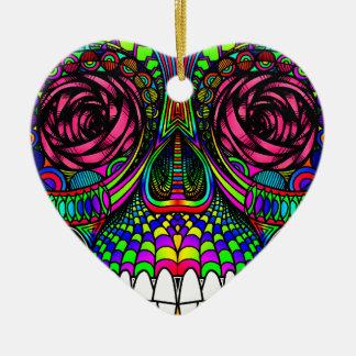 Zuckerschädel-Tag der toter Regenbogen-bunten Keramik Herz-Ornament