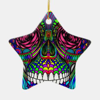 Zuckerschädel-Tag der toter Regenbogen-bunten Keramik Ornament