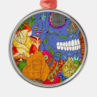 Zuckerschädel u. -ROSE Silbernes Ornament