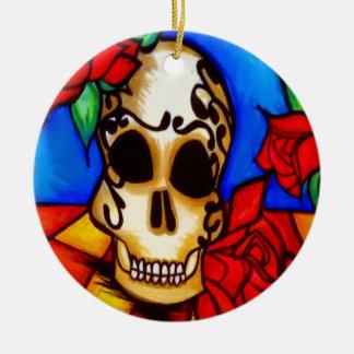 Zuckerschädel u. -Rosen auf Tabelle Keramik Ornament