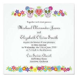 Zuckerschädel und -Blumen, die Einladung Wedding