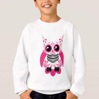 Zuckerschädel-weiße rosa Eule Sweatshirt