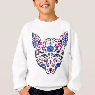 Zuckerschädel-Wolf-Kopf-blaues Lila Sweatshirt