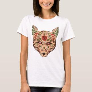 Zuckerschädel-Wolf-Kopf-TAN-Malvenfarben-Rose T-Shirt